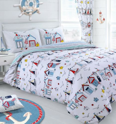 NAUTICAL BOAT SHIP BEACH HUT WHITE BLUE SEASIDE BEDDING DUVET COVER OR CURTAINS